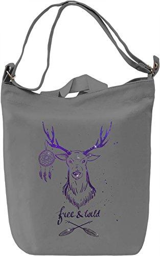 Free And Wild Borsa Giornaliera Canvas Canvas Day Bag  100% Premium Cotton Canvas  DTG Printing 