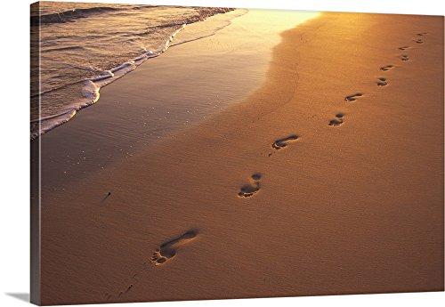 Dana Edmunds Premium Thick-Wrap Canvas Wall Art Print entitled Footprints In Sand At Sunset (Footprints Canvas)