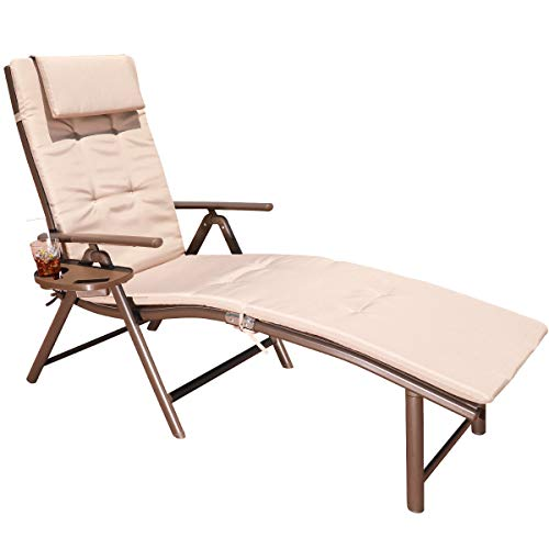 GOLDSUN Aluminum Outdoor Foldable Reclining Sun Lounger Adjustable Chaise Lounge Chair for Outdoor Patio Beach Porch Swing Pool (Beige with Caramel Cushion) (Sun Outside Loungers)