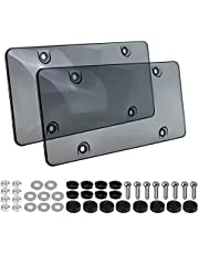License Plate Covers with Screws and Caps,2 Pack Unbreakable License Plate Protector for All Standard Canada License Plates ,Smoked License Plate Shield.(2Pcs)