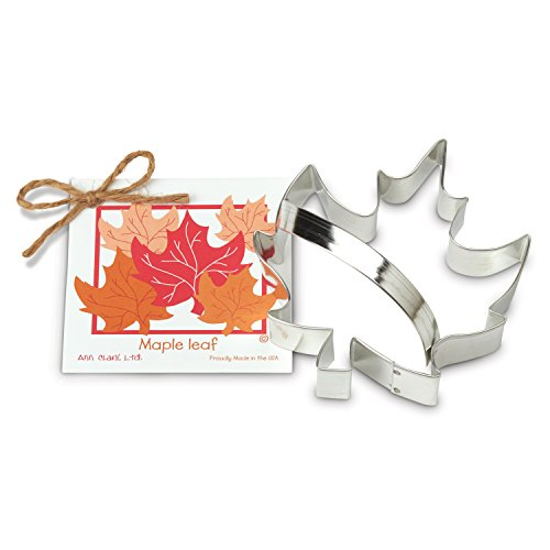 Maple Leaf Cookie and Fondant Cutter - Ann Clark - 5.1 Inches - US Tin Plated Steel