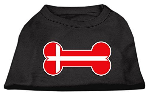 Bone Shaped Denmark Flag Screen Print Shirts Black XS (8)