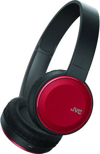 JVC Lightweight Flat Foldable On Ear Colorful Lightweight Headband w Mic, Red (HAS190MR) Jvc Red Lightweight Headphone