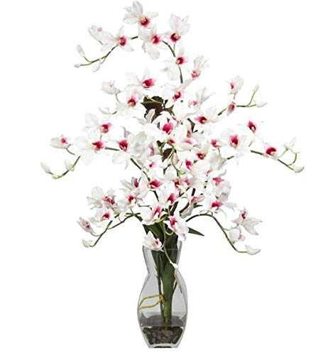 SKB Family Dendrobium w/Vase Silk Flower Arrangement Floral Colorful Flowers Accent ()