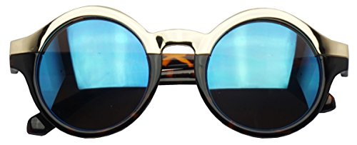 Two Tone Gold Half Frame Round Horned Rim Circular Sunglasses W/ Color Mirrored Lens (Tortoise / Blue Lens, - Glasses 2017 Current Style