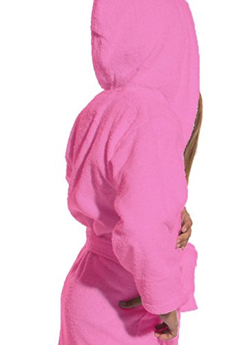 Kids Terry Cloth Robe 100% Cotton Hooded Bathrobe for Girl and Boy (Pink, S/M)