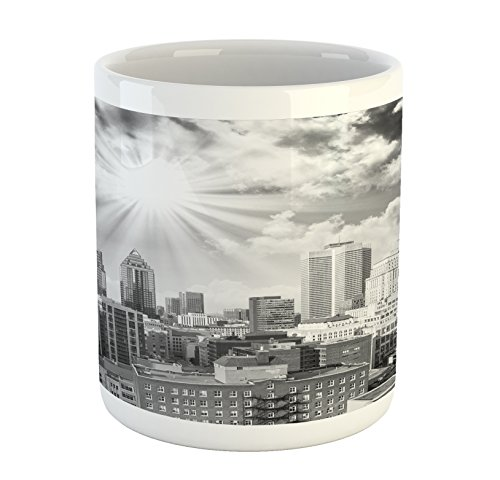 Ambesonne Black and White Mug, Aerial View Montreal Canada Cityscape with Skyscrapers Architecture, Printed Ceramic Coffee Mug Water Tea Drinks Cup, Black White Grey