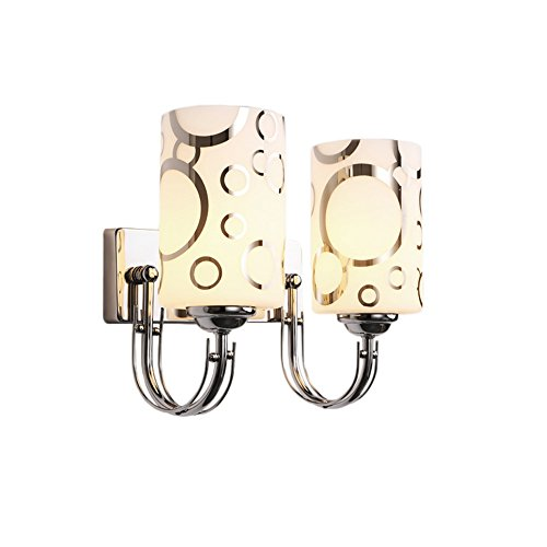 "Modern Glass Wall Lights, MKLOT Minimalist Wall Lamp Bedside Sconce Lighting 5.51"" Wide with E26 Scoket for DIY Home Decor Living Room Bedroom 2-Light"