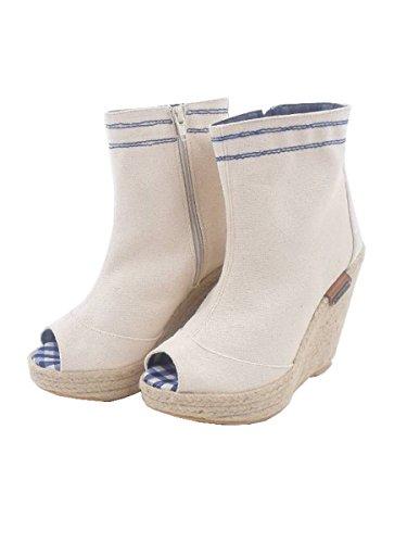 Pepe Jeans Bottines Coins Chaussures Irn-250 Un Blanc? Toile À Semelle Compensée - Blanc, 39 Eu