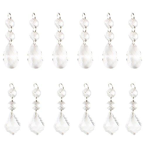 BIHRTC 12 Pcs 38mm Clear Crystal Chandelier Prisms Pendants Glass Pendants Beads (6pcs Teardrop + 6 pcs Maple Leaf Crystal Pendants)