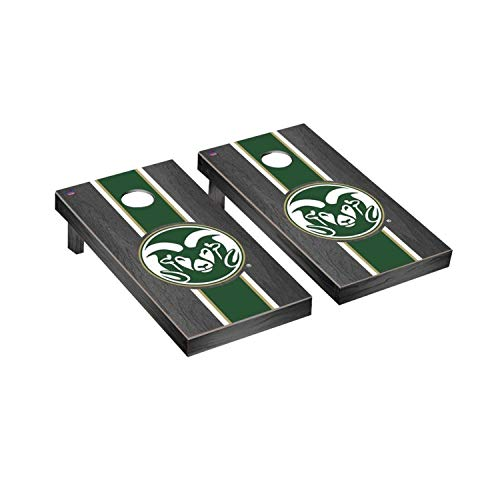 - Victory Tailgate Regulation Collegiate NCAA Onyx Stained Stripe Series Cornhole Board Set - 2 Boards, 8 Bags - Colorado State Rams