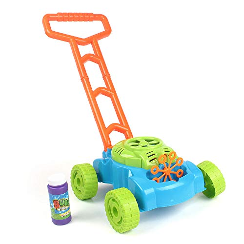 MeeYum Kids Outdoor Activity Bubble Machine Lawn Mower Bubble Blower with Handle Trolley