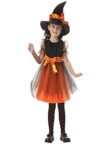 Halloween Dresses for Baby Girls,Toddler Kids Cute 2Pcs Swing Witch Party Dress+Witch Hat Outfit Costume (100, Yellow)