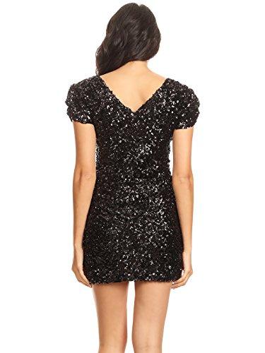 Dress Bodycon Anna Club kaci Mini Nero Manica Scollo V Donna Corta Paillettes A rqTP1A8wqx