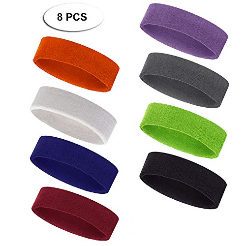 - Outton Ultra Soft Headband Men's Women's Sport Stretchy Elastic Sweatband Fashion for Outdoor Activity-Tennis, Basketball, Running, Gym, Working Out 8 PCS Mixed Color