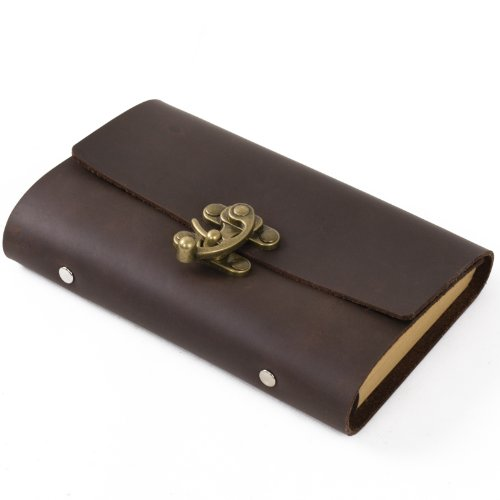 Ancicraft Refillable Leather Journal with Cool Lock 6 Ring Binder A6 Lined Paper 3.75 X 6.75 Inches Brown with Gift Box (Dark Brown & Lined Craft Paper)