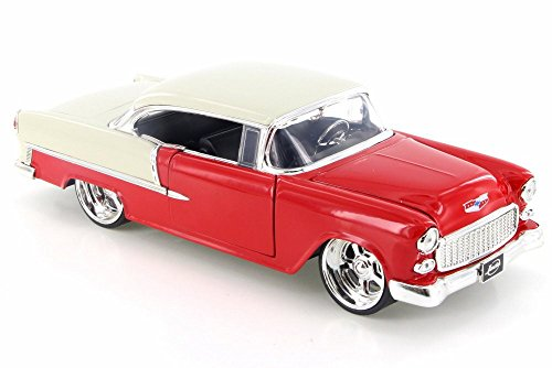 - 1955 Chevy Bel Air Hard Top, Red/White Top - Jada 98939D - 1/24 Scale Diecast Model Toy Car but NO Box