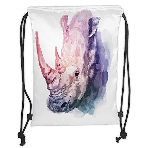 (New Fashion Gym Drawstring Backpacks Bags,Watercolor Decor,Gradient Paintbrush Style Tropical Animal Rhino Safari Artful Paint Print,Lilac Pink Soft Satin,Adjustable String Closur)