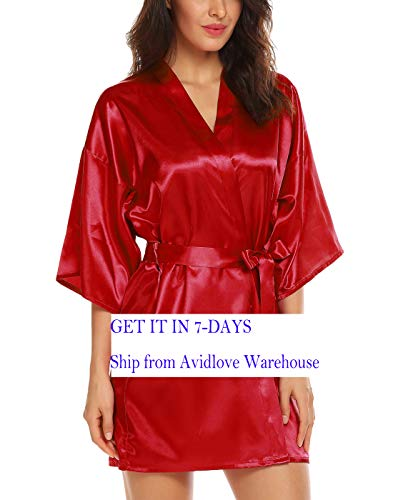 Avidlove Women's Kimono Robe Satin Lounge Short Style, Style2--Dark Red (FBA), Medium]()