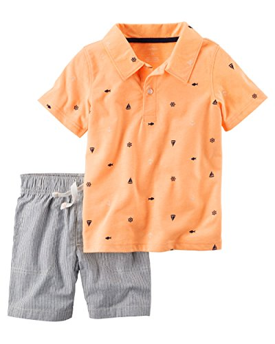 Carter's Baby Boys' 2-Piece Sailboat Polo And Striped Shorts Set 6 Months (Sandy Outfit)