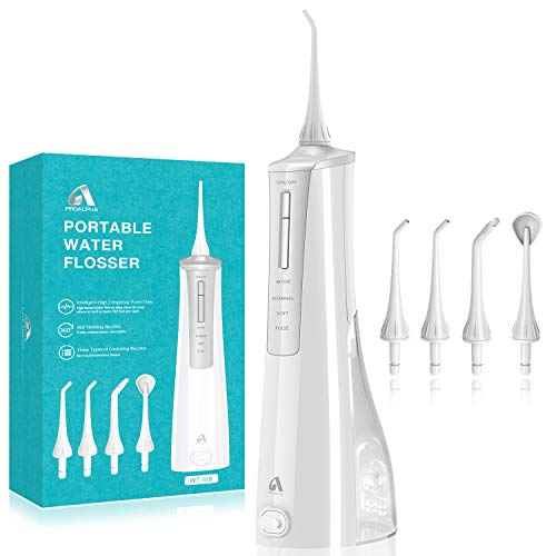 Water Flosser Cordless Dental Oral Irrigator-Portable and Rechargeable IPX7 Waterproof, 3 Jet Tips,3 Modes Water Flossing with Big Capacity Water Tank for Home and Travel, Braces & Bridges Care-Silver