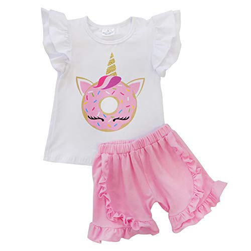 So Sydney Girls Toddler Sequin or Ruffle Novelty Summer Pool Beach Vacation Shorts Outfit (6 (XL), Donut Unicorn) (Best Clothes To Dance In)