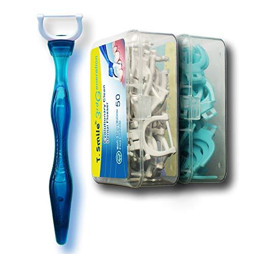 T.Smile 3rd Generation Dental Flosser 1 Handle + 50 Soft Silky Ribbon Floss Heads + 50 Extra Strength Floss Heads, Evolutionary Clean