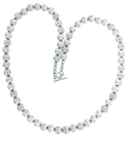Sterling Silver 10mm Corrugated Bead 25.5 Inch Toggle Necklace