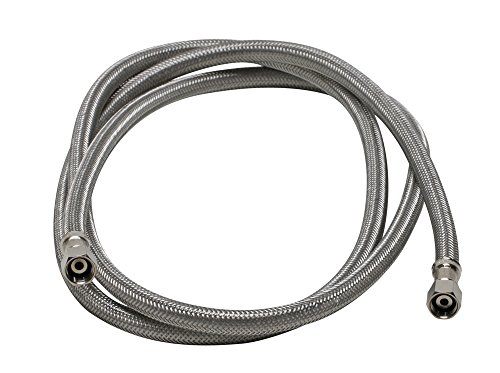 Fluidmaster 12IM60 Ice Maker Connector, Braided Stainless Steel - 1/4 Compression Thread x 1/4 Compression Thread, 5 Ft. (60-Inch) Length by Fluidmaster