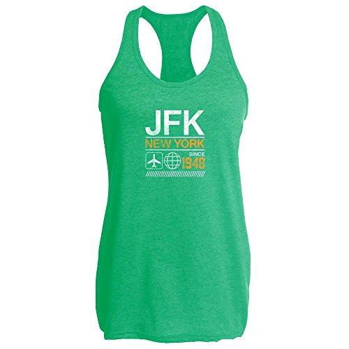 Pop Threads JFK Airport Code New York Since 1948 Travel Heather Kelly M Womens Tank Top by Pop Threads