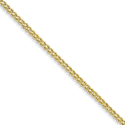 14k Yellow Gold 3mm Wide Double Strand Link Rope Bracelet 7 Inch Chain Fine Jewelry Gifts For Women For Her