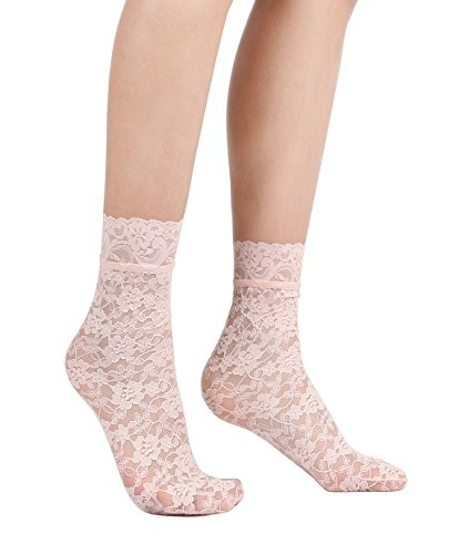 Women's Lace Ankle Socks (One Size : Regular, Floral - Peach Pink (Floral Ruffle Socks)