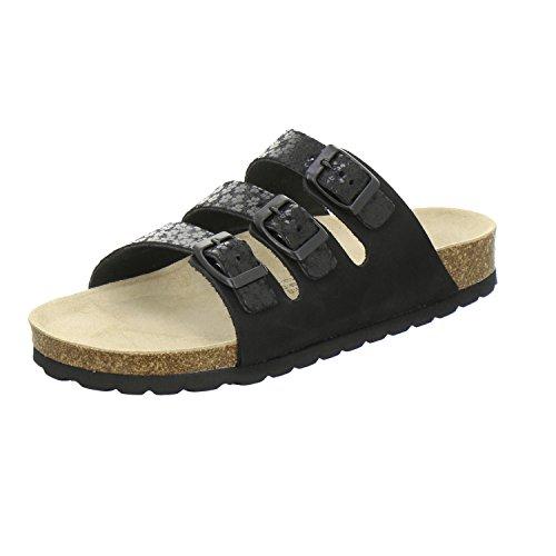 AFS-Schuhe 2133, Sportliche Damen-Pantoletten, Praktische Arbeitsschuhe, Hochwertiges, Echtes Leder, Verstellbare Bio-Pantoletten, Bequeme Hausschuhe Schwarz