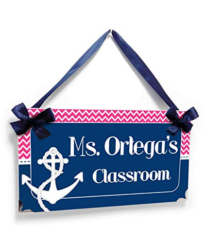 Customized Classroom Name Sign - Nautical Theme Decor Navy with Pink Chevron and an Anchor