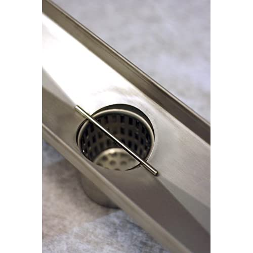 "70%OFF Novalinea – 48"" Linear Shower Drain, VERTI-LINE Pattern with Brushed Steel Finish, Includes Hair Strainer, Leveling Feet and Threaded Adapter"