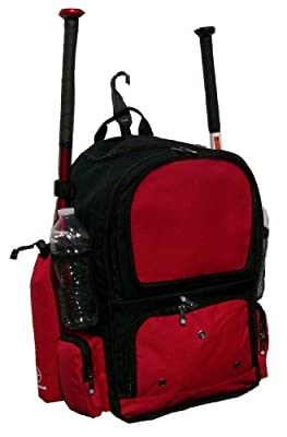 Maxballbags Black and Red Chita CY Small Softball Baseball Bat Equipment Backpack BKRDCY