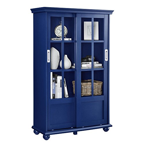 Ameriwood Home Aaron Lane Bookcase with Sliding Glass Doors, Blue by Ameriwood Home (Image #1)