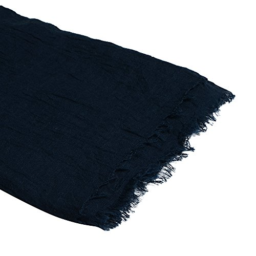 QBSM Womens Navy Blue Soft Large Crinkle Hijab Scarfs Shawls Solid Cotton Sheer Wraps Cover Up by QBSM (Image #2)