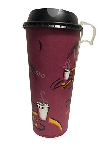 24 Oz. bistro Paper Coffee Cup with black dome lid 50 sets + 5 Bonus clip on Handle for Heat Prevention