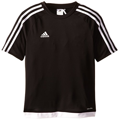 adidas Youth Soccer Estro Jersey, Black/White, Medium
