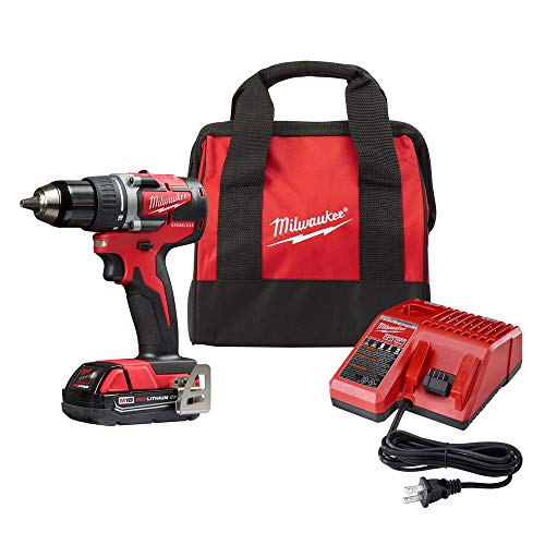 Milwaukee 2801-21P M18 18-Volt Lithium-Ion Compact Brushless Cordless 1/2 in. Drill/Driver Kit -