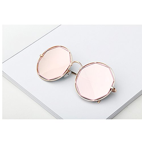 Gran poligonal Polvo Moda de Gris Color marco de Mujeres coreana Personalidad Versión Moda Negro callejera Gafas WLHW UV Protección metal Polvo Negro sol Azul SZnqgw7