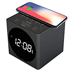 Upgraded galahome Wireless Charging Alarm Clock Radio, Wireless Charger Compatible iPhone Xs/XR/X/8, USB Charging Station, FM Radio, Bluetooth Speaker, Snooze, 4 Dimmers, Dual Alarm Clock for Bedroom