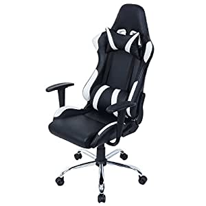 Giantex Black And White Gaming Chair Office