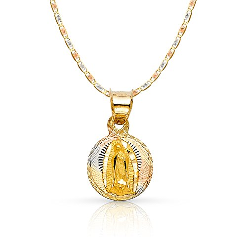 14K Tri Color Gold Diamond Cut Our Lady of Guadalupe Stamp Charm Pendant with 1.5mm Valentino Chain Necklace - 18