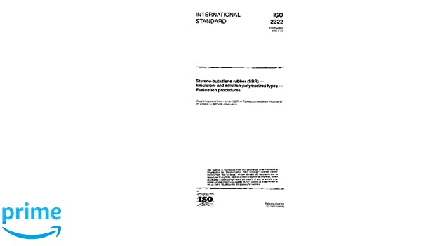 Amazon com: ISO 2322:1996, Styrene-butadiene rubber (SBR