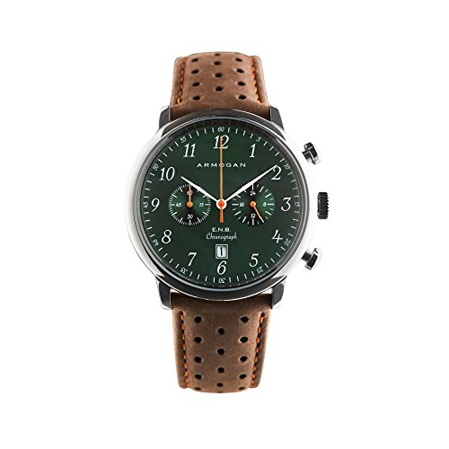 Emerald Mens Watch - Armogan E.N.B - Emerald Green S52 - Men's Chronograph Watch Brown Suede Leather Strap