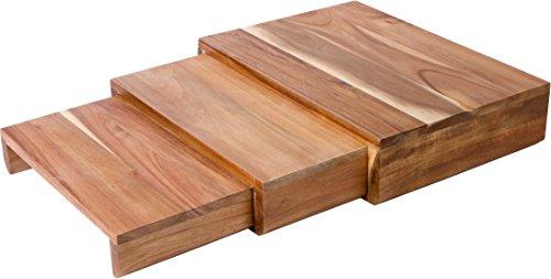 Nesting Acacia Wood Serving Pedestal Trays - Set of 3 Trademark Innovations
