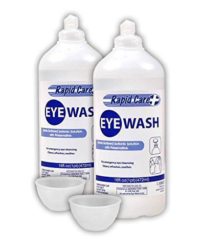 Rapid Care First Aid 66016 Sterile Isotonic Eyewash Bottle 16 oz with Bonus Reusable Eye Cup, FDA Compliant, Pack of 2