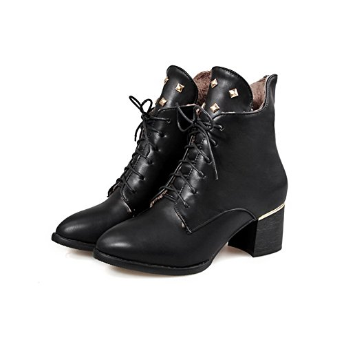 Women's Solid Black Toe Kitten Pointed Closed Boots Allhqfashion PU Zipper Heels OAw5qAd